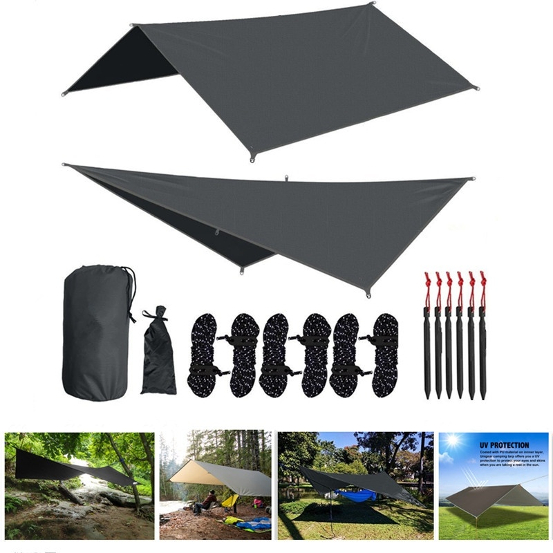 Hammock Rain Fly Waterproof Tent Tarp Camping Backpacking Sun Shelter Shelter Shade Lightweight 10x10ft Rip-stop Hammock Canopy