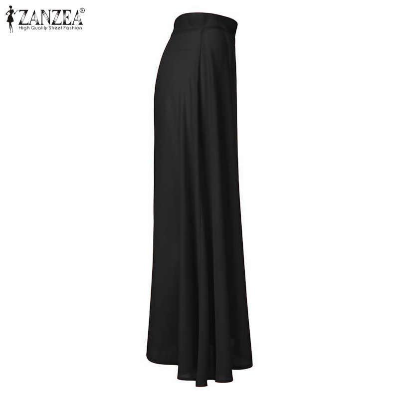 Zanzea mulheres sexy alta fenda saias 2020 moda senhoras sólido maxi saias casual voltar zíper até faldas mujer elegante saia longa