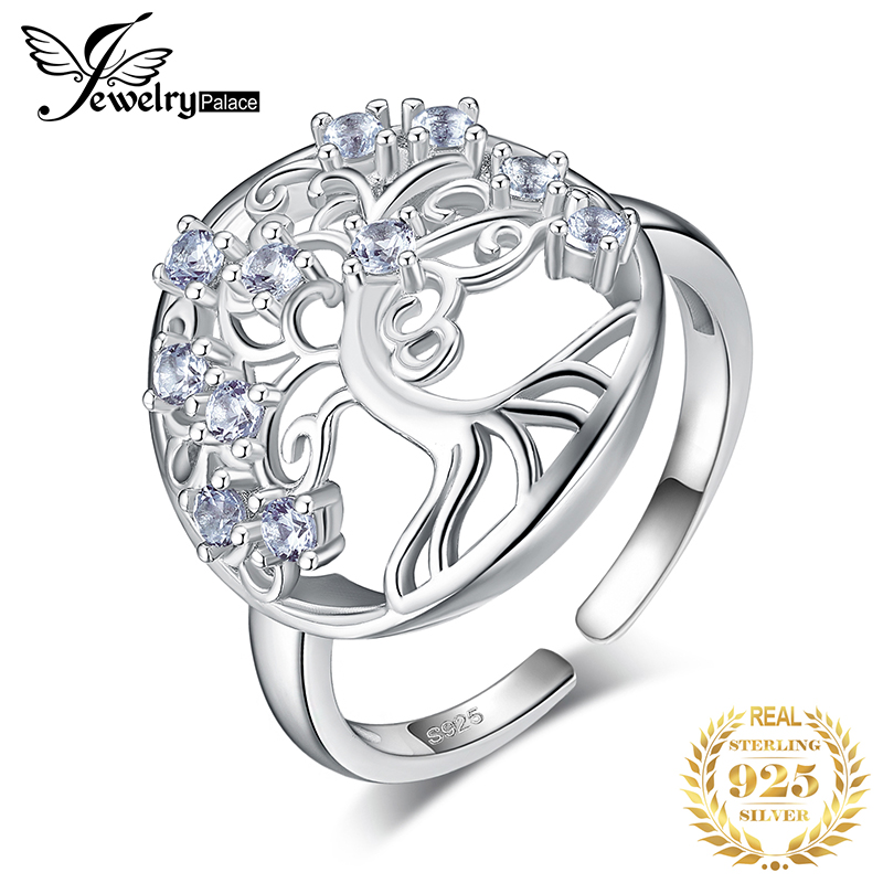 JewelryPalace Tree Of Life Created Blue Spinel Ring 925 Sterling Silver Rings For Women Party Cocktail Ring Silver 925 Jewelry
