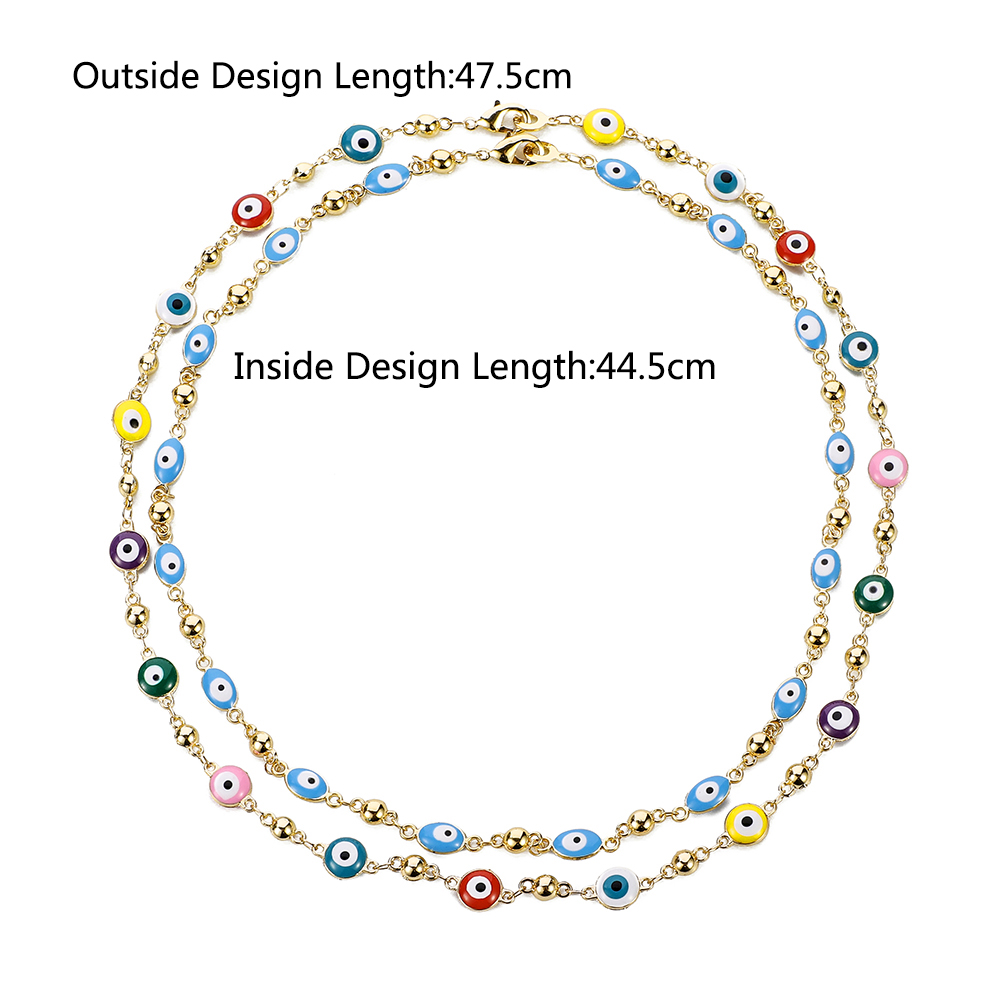 Gold Color Plated Never Faded Blue Evil Eye Crystal Charm Allah Necklace for Women Muslim Jewelry Turkish Blue Eye Necklace