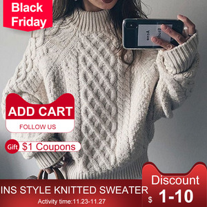 Sweater Warm Thicken Women Tops Autumn Winter Knitted Female Pullover Jumpers Casual Fashion Korea Japan Sweater New 2020 Plain