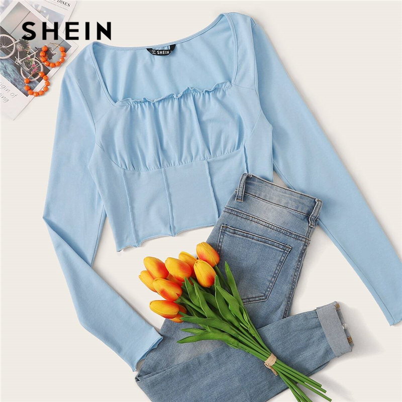 SHEIN Solid Lettuce Trim Crinkle Front Fitted Sexy Crop Tee Women Tops Spring Square Neck Long Sleeve Laides Skinny T-Shirts