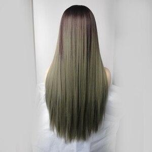 Image 4 - Bangs와 긴 스트레이트 합성 가발 Ombre 갈색 녹색 자연 머리 가발 여성을위한 코스프레 가발 내열성 섬유 가발