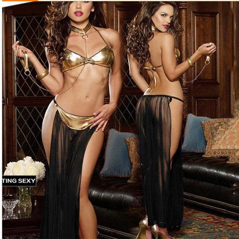 Women Sexy Star Wars Slave Princess Leia Costume Dress Lady Halloween Fancy Cosplay Dress Costume Gold Bra And Neckchain