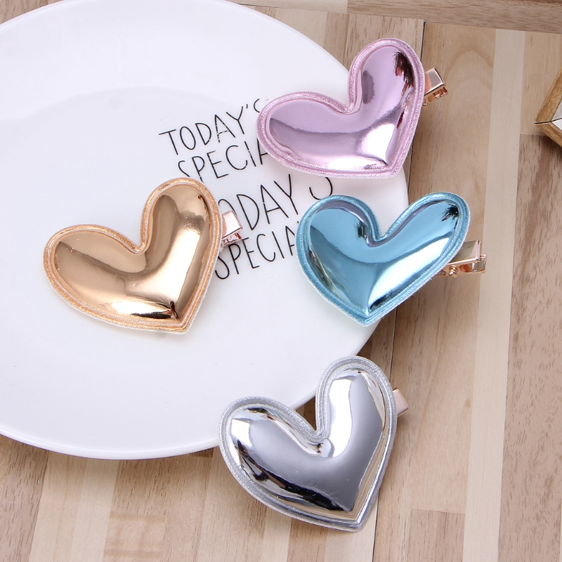 4Pcs Glitter PU Leather Heart Hair Clip Girl Hairpin Kid Birthday Party Barrette