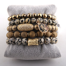 Fashion Jewelry Beautiful Magnetic Dalmatian Bracelet Set Natural Druzy Stone CZ Ball Bracelets(China)