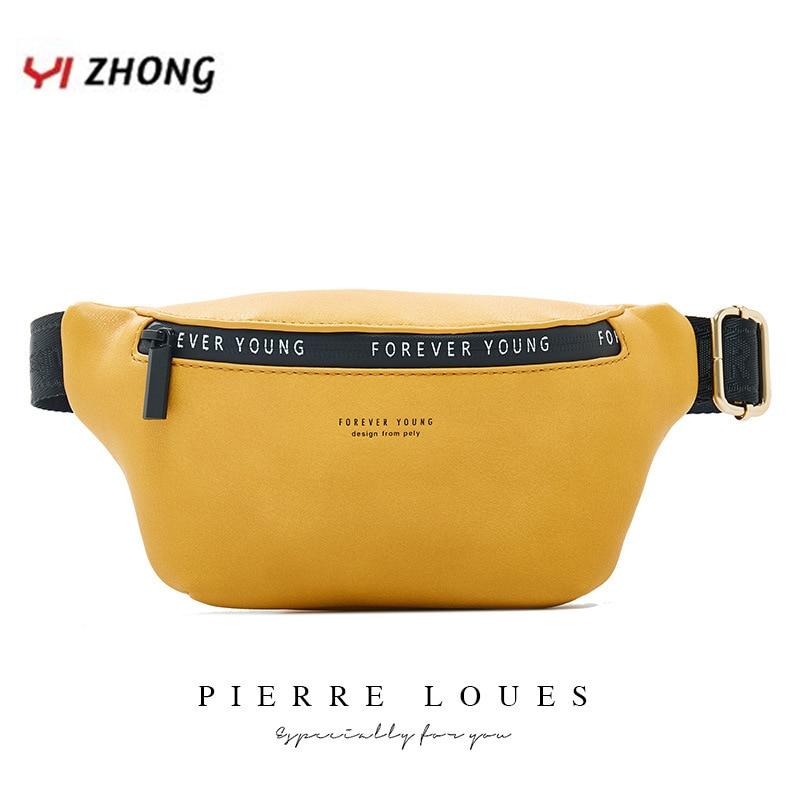 YIZHONG New Luxury Brand Fanny Pack Women Large Capacity Waist Pack Fashion Waist Bag Leather Belt Bag Multi-function Chest Bag