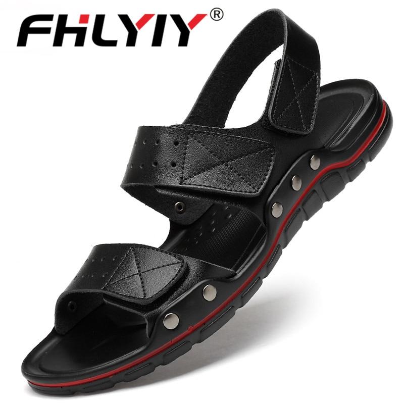 New Hot Sale Mens Sandals Summer Men Soft Sandals Genuine Leather Man Beach Shoes Soft Big Size Bottom Male Roman Comfortable Me