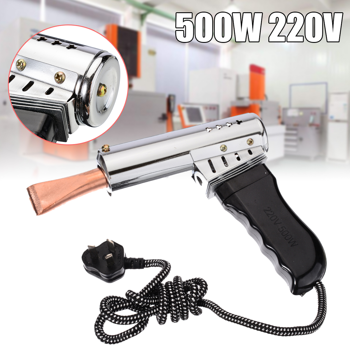 220V AC 500W Soldering Iron Heavy Duty Chise w// Copper Point Carft Munufacturing