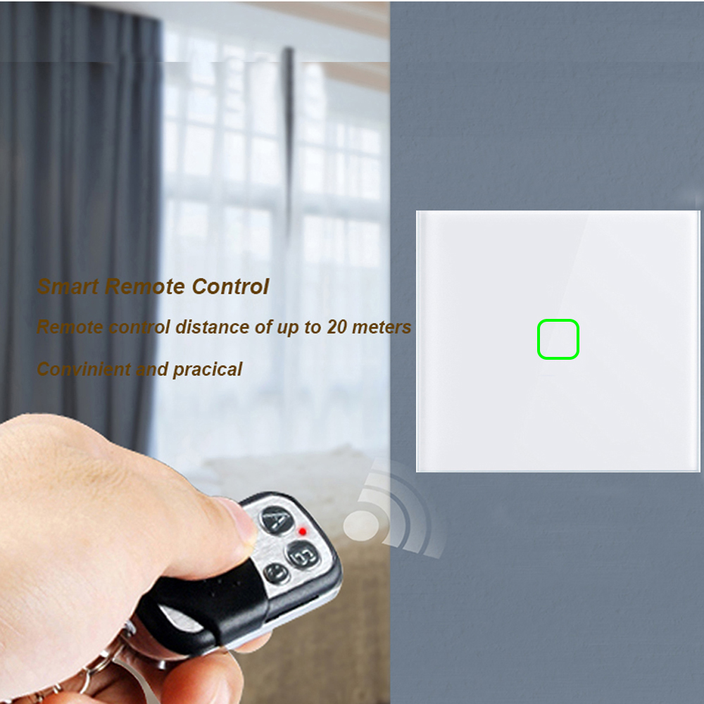 8 pces eruiklink ue interruptor de toque luz parede, 2 gang painel vidro sem fio interruptor toque remoto rf funciona broadlink pro casa inteligente - 4
