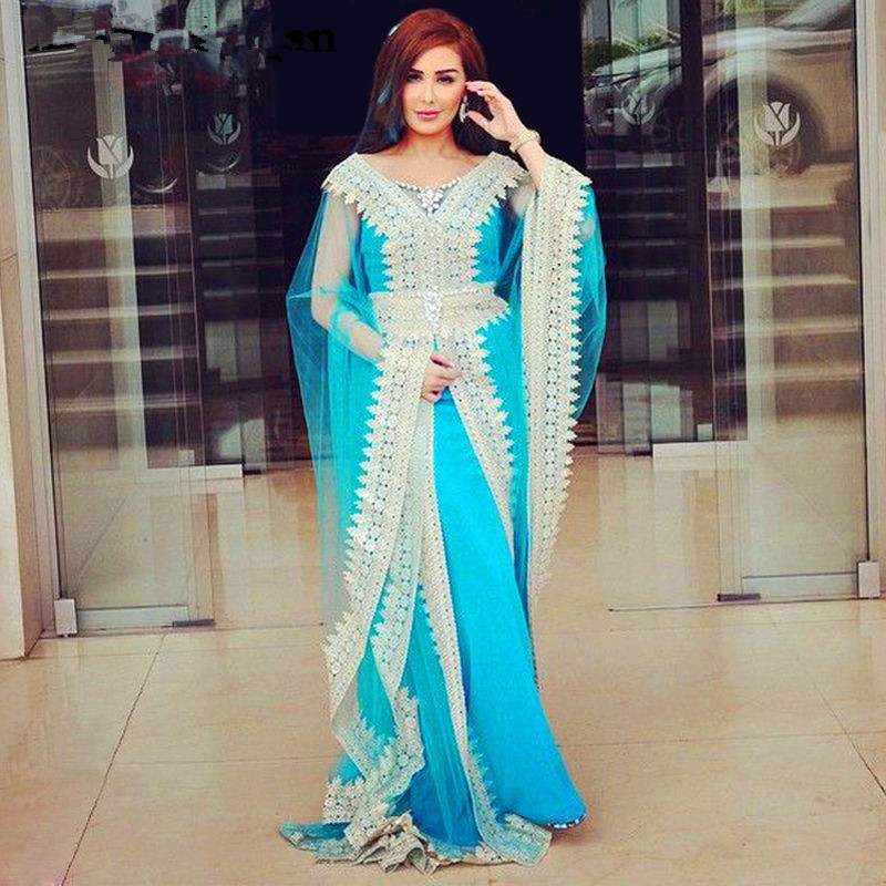 Morocco Kaftan Evening Dresses Elegant V-Neck Appliques Lace Long Sleeves Blue Tulle Muslim Arabic Dubai Prom Party Dress