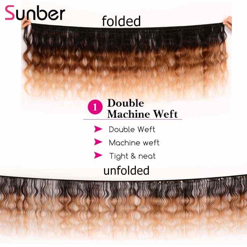 SUNBER pelo ombré brasileño cuerpo ondulado pelo humano 3 mechones T1B/4/27 pelo Remy de tres tonos doble trama de pelo tejido envío gratis