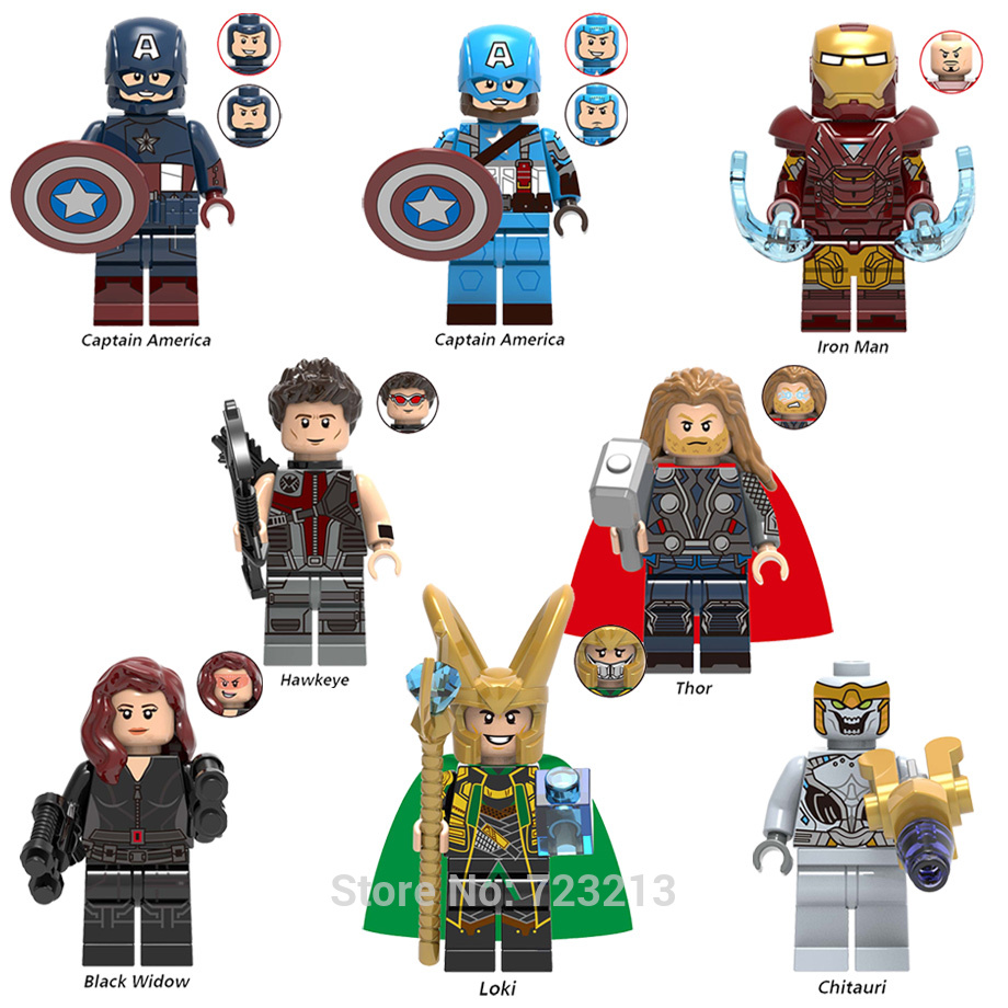 The Avengers 4 Endgame Super Hero Iron Man Figure Loki Black Widow Captain Marvel Thor Building Blocks Toys X0259 Legoing