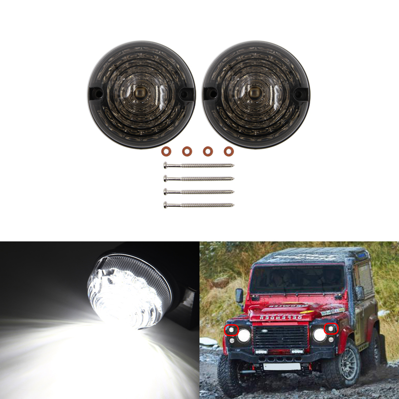 Smoke Tinted Front Led Side Marker Light Standard Size Round 73MM Fits For Land Rover Defender <font><b>90</b></font>-16 <font><b>90</b></font>/110 CANbus White Auto image