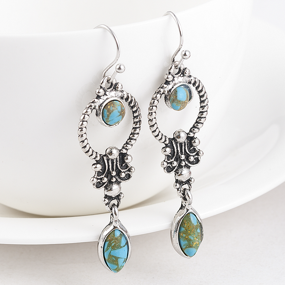 Indian Tribal Personality Natural Dangle Drop Earrings Resin Stone Boho Ethnic Vintage Hanging Earrings 2019 for Women 4