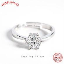 Pofunuo 925 пробы серебряные свадебные циркониевые кольца классические
