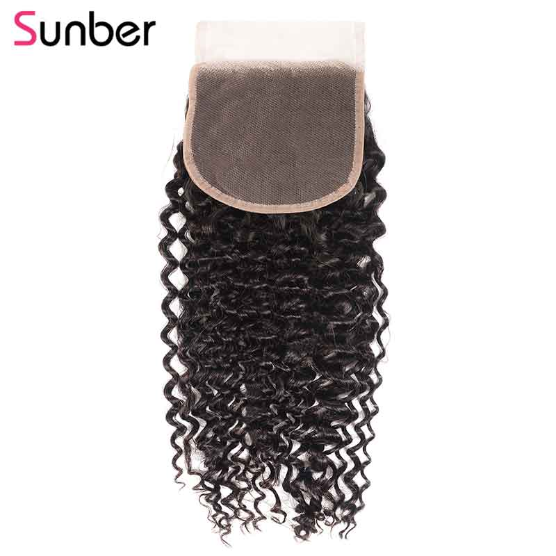 Sunber Hair 5X5 Curly Closure Pre Plucked Natural Hairline Remy Human Hair Brazilian Lace Closure