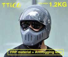 Japanese Style TT&CO Motorcycle Retro Helmet With Lens  Vintage Full Face Fiberglass Shell Cafe Racer TTCO