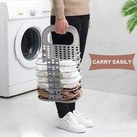 세탁 바구니 접을 수있는 작은 더러운 세탁물 햄퍼 바구니  손잡이가있는 세탁 바구니 걸기 플라스틱 collaspable tall laundr