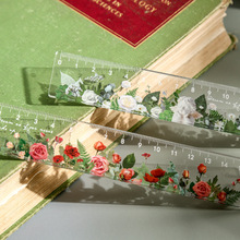 15 cm Acrylic Flowers Ruler Multifunction Drawing Tools For Students Cute Measuring Straight Rulers School Office Supplies New
