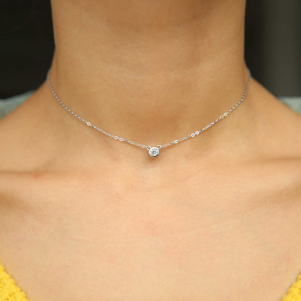 18k Solid White Gold Cubic Zirconia 4 mm Necklace for Women and Teens
