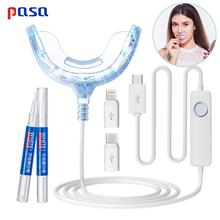 Hot! Portátil inteligente luz azul fria led dispositivo clareador dental clareamento gel kit 2 portas para android ios dentes branqueamento