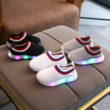 Kids Shoes Elastic Sports Led Shoes Leisure Baby Boys Girls Light Shoes Children Kids Breathable Sport Shoes Glowing Sneakers(China)
