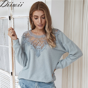 Diiiwii  Spring Autumn New Sweaters Women Fashion O-Neck Spliced Lace Sexy Solid Jumpers Female Casual Loose Long Sleeve Knitted 2019 spring new women half sleeve loose flavour black dress long summer vestido korean fashion outfit o neck big sale costume