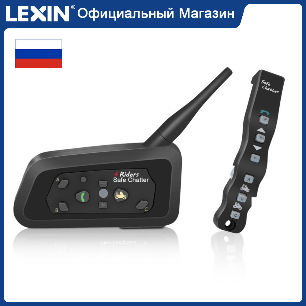1pcs Lexin A4 BT Bluetooth Moto Intercom helmet headsets Include a Remote for 4 Riders 1000M Motorcycle Intercomunicator|Helmet Headsets| |  - title=