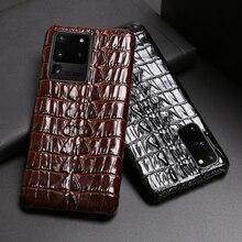 Deri telefon kılıfı için Samsung S20 Ultra S10 S10e S9 S8 S7 not 8 9 10 20 artı A20 A30 a50 A70 A51 A71 A8 timsah kuyruk doku
