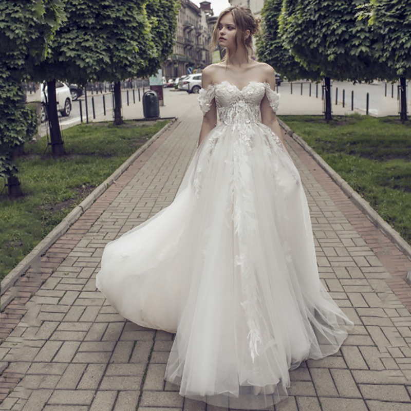 Verngo A Line Boho Wedding Dress Lace Appliques Tulle Wedding Gowns 2020 Off The Shoulder Bride Dress Elegant Robe Mariage