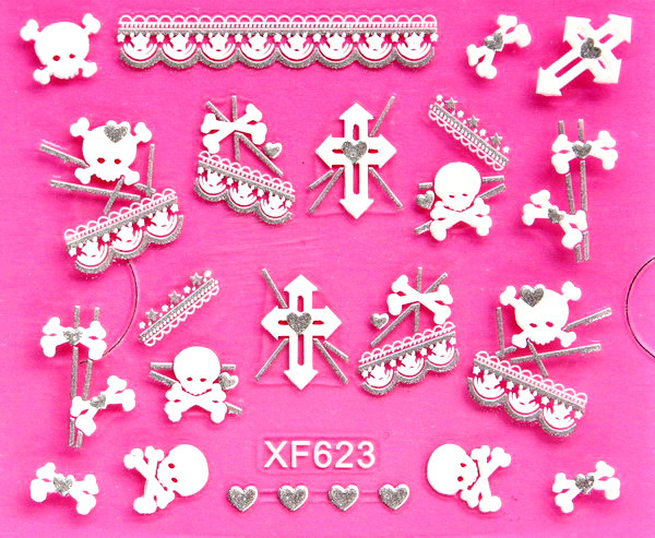 XF European Style Varved Nail Sticker Stereo Nail Sticker 3D Nail Sticker XF623
