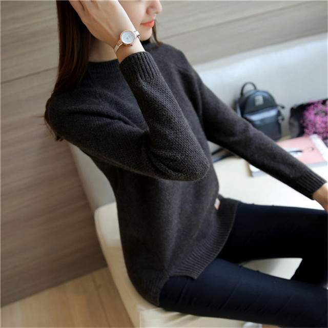 2019 Women Sweaters And Pullovers Autumn Winter Long Sleeve Pull Femme Solid Pullover Female Casual Short Knitted Sweater W1629 5