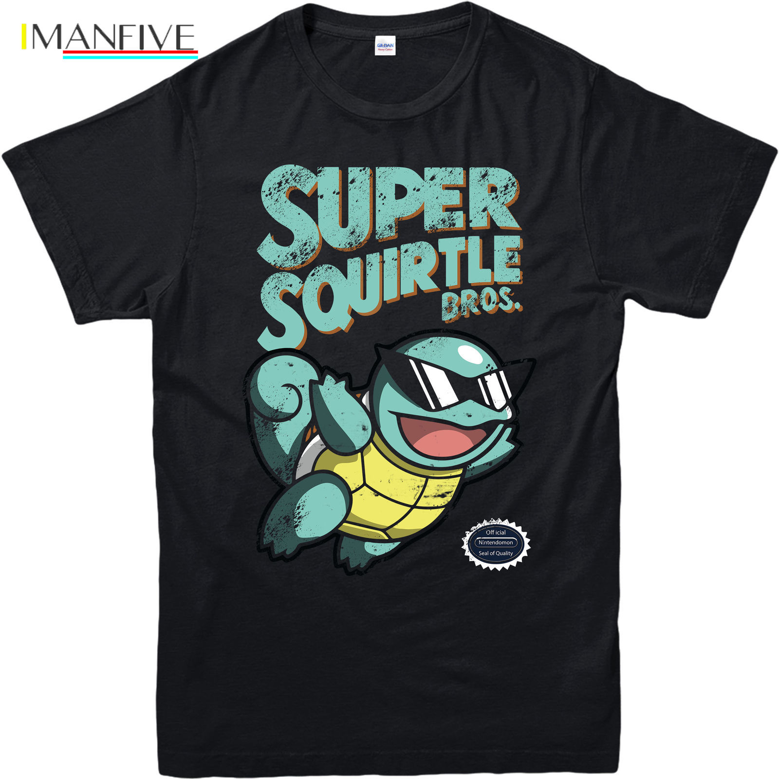 Pokemon T-Shirt,Super Squirtle Mario Bros Spoof,Adult and kids Sizes 100% Cotton Straight O-Neck Short Sleeve Chinese Style
