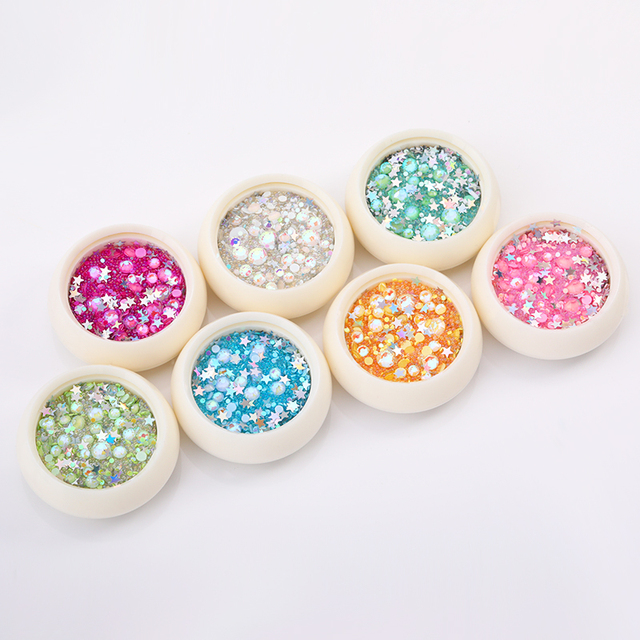 1 Box 3D Colorful Decorations Rhinestones Flat Back Gems Jewelry Mixed Size Nail Accessories Nail Art Decorations DIY Design