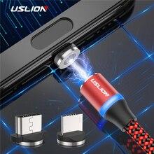 USLION светодиодный магнитный usb-кабель для samsung Xiaomi для iPhone XS X, магнитный штекер и кабель USB type C и кабель Micro usb для быстрой зарядки