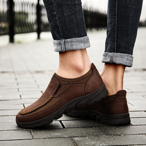 Image 5 - winter split Leather flats Shoes man 2019 Men casual shoes Slip On Loafers Moccasins Driving Shoes male footwear plus 39 48