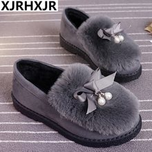 2019 Warm Slippers Women Winter Shoes Bowtie Plush Inside Loaferes Ladies Outdoor Home Slippers Pantuflas Ladies Slip On Shoes(China)