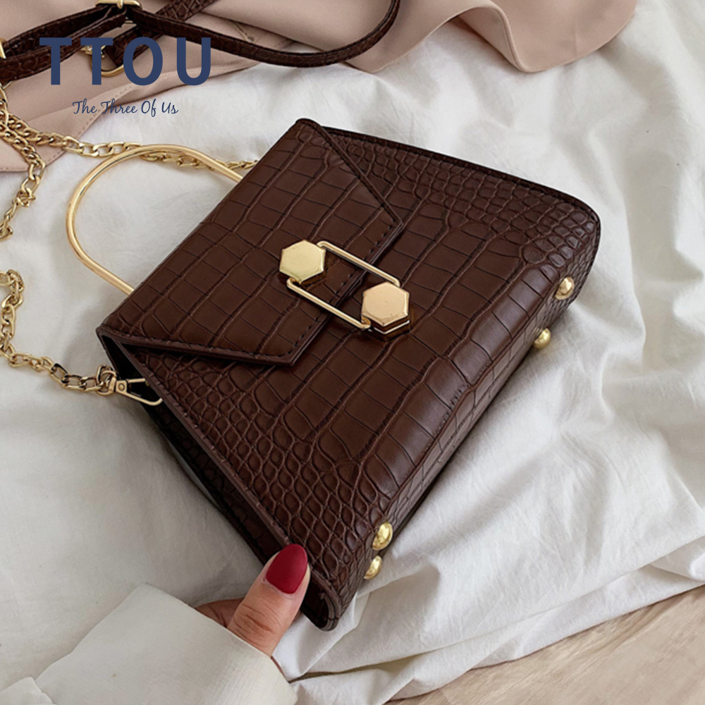 PU Leather Alligator Pattern Female Shoulder Bags For 2020 Women With Metal Handle Designer Ladies Messenger Bag Top-Handbag