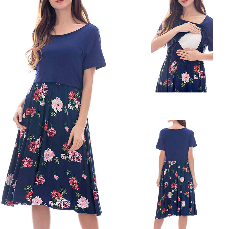 ENXI Breastfeeding Dress Solid Color And Floral Print Patchwork Maternity Dresses Summer Short Sleeve Nursing Pregnancy Dress
