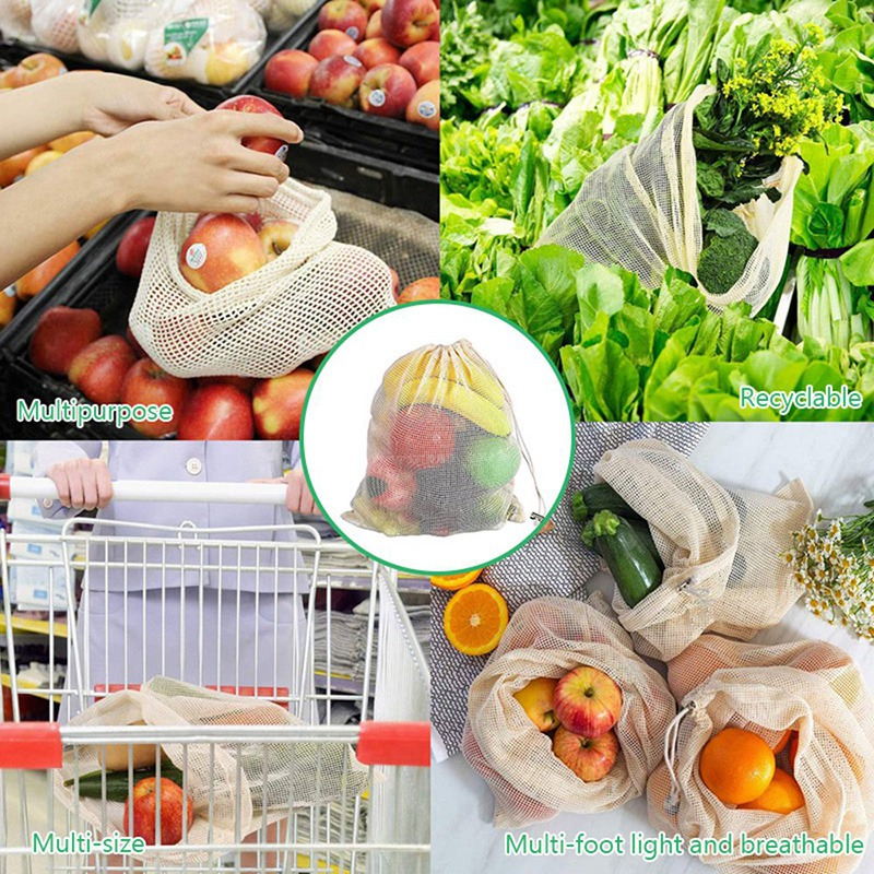 30Pcs Reusable Produce Bags Organic Cotton Washable Mesh Bags for Grocery Shopping Fruit Vegetable Organizer Storage Bag|Bags & Baskets| |  - title=