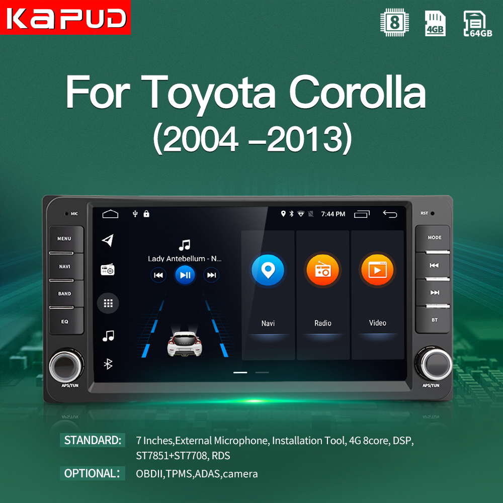 Kapud Android 10 Car Touch Screen Player Radio For Toyota Corolla Multimedia E120 E150 2002 2004 2005 2006 2008 2009 DSP GPS BT|Car Multimedia Player|   - AliExpress