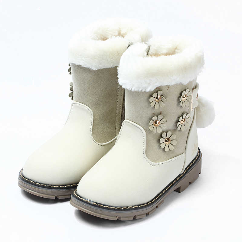 Winter girls boots thickening rabbit fur princess cotton boots cashmere snow boots cattle tendons bottom non-slip girls boots