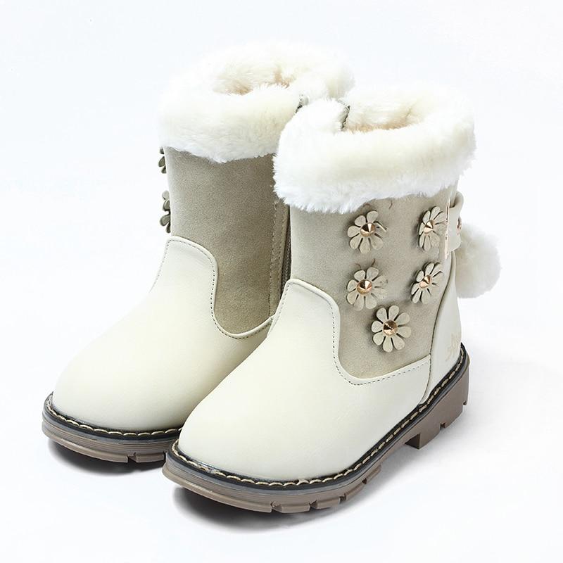 Winter Girls Boots Thickening Rabbit Fur Princess Cotton Boots Cashmere Snow Boots Cattle Tendons Bottom Non-slip Girls Boots