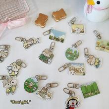 Корейский мультяшный милый кролик лес девочка застежка для ключей