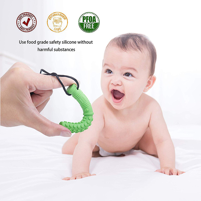 6PCS Silicone Texture Chew Necklace Baby Teether Autism Sensory Chew Pendant Oral Motor Tools for Special Needs ADHD