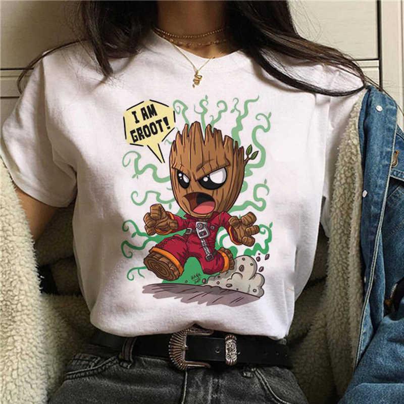 2020The Kaos Baru Lucu Bady Groot Dicetak Top Atasan Kaos Wanita Lucu Mode Mode Kartun Anime T Shirt Harajuku