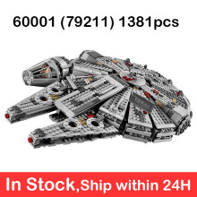 Star Plan Wars Millennium 60001 Figures Wars Model Building Blocks Harmless Bricks Enlighten Compatible Toy Falcon 1381pcs 79211