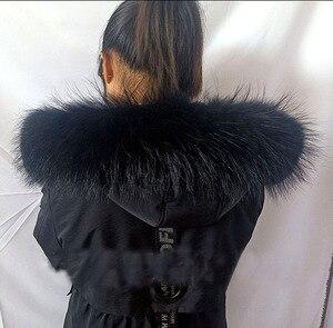 Image 3 - Новинка 2020 воротник из 100% натурального меха енота для парки для мужчин и женщин большой размер черные меховые шарфы пальто с капюшоном шарф 70 см 75 см Zxx88