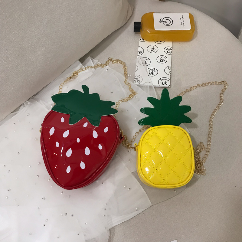 Mini Bag New Trend Korean Version Of The Chain Cartoon Girl Personality Wild Strawberry Pineapple Messenger Shoulder Bag